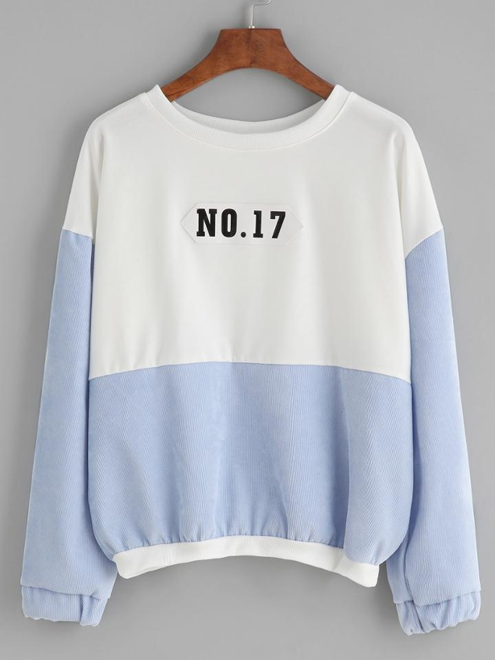 Romwe Color Block Number Patch Drop Shoulder Sweatshirt