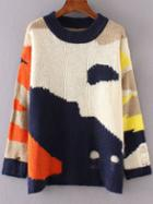 Romwe Color Block Ripped Drop Shoulder Sweater