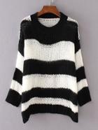 Romwe Black Contrast Wide Striped Drop Shoulder Sweater