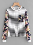 Romwe Mixed Print Pocket Front Sweatshirt