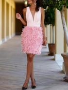 Romwe Pink Feather Splicing Sleeveless Plunge Dress