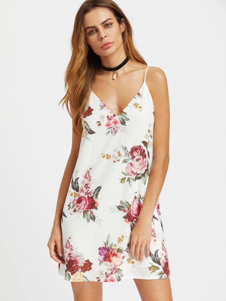 Romwe Floral Print Cami Dress