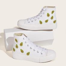 Romwe Avocado Print High Top Sneakers