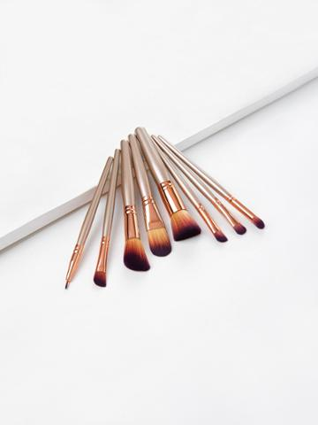 Romwe Metallic Handle Makeup Brush Set 8pcs