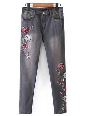 Romwe Flower Embroidery Ankle Jeans