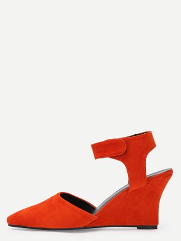 Romwe Orange Faux Suede Ankle Strap Wedges
