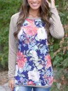 Romwe Floral Grey Raglan Sleeve Tshirt