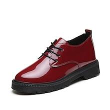Romwe Lace Up Patent Leather Oxfords