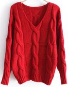 Romwe Red Batwing Long Sleeve V-neck Cable Sweater