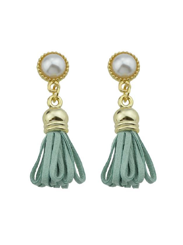 Romwe Green Pu Leather Tassel Shape Drop Earrings