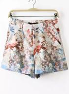 Romwe White Leaves Print Shorts