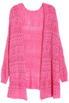 Romwe Hollow Batwing Pink Knitted Cardigan