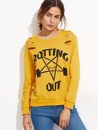 Romwe Ginger Printed Ripped Sweatshirt