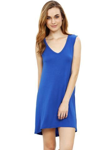 Romwe Blue Minis Sleeveless Vest Casual Dress