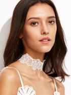 Romwe White Floral Lace Choker Necklace