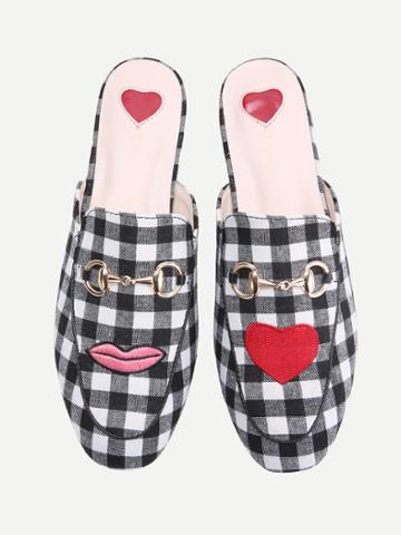 Romwe Black And White Plaid Heart Pattern Loafer Mules