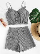 Romwe Tie Bow Gingham Crop Cami Top With Shorts Set