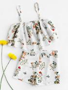 Romwe Floral Print Random Tiered Crop Cami Top With Shorts