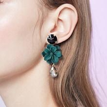 Romwe Flower Design Gemstone Drop Earrings