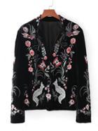 Romwe Embroidery Fox Velvet Blazer