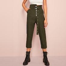 Romwe Asymmetrical Waist Belted Pants