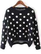 Romwe High Low Polka Dot Black Sweater