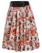 Romwe With Belt Florals Orange Skirt