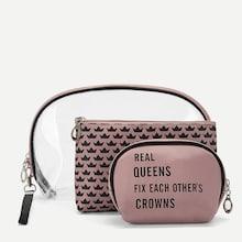 Romwe Letter & Crown Pattern Makeup Bag 3pack