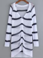 Romwe Striped Open-knit Button-down Cardigan