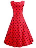Romwe Polka Dot Pirnt Fit & Flare Dress