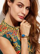 Romwe Gold Plated Gemstone Hollow Out Bangle