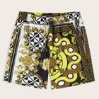 Romwe Guys Scarf Print Drawstring Waist Shorts
