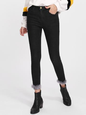 Romwe Faux Fur Contrast Trim Skinny Jeans