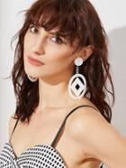 Romwe White Geo Shaped Drop Earrings