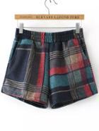 Romwe Elastic Waist Plaid Bow Navy Shorts