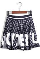 Romwe Letter Print Plaid Pleated Black Skirt