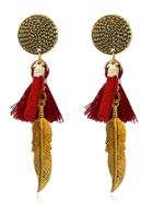 Romwe Tassel Detail Feather Drop Earrings