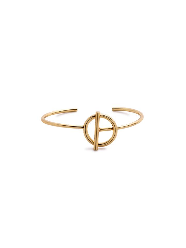 Romwe Gold Plated Geometric Minimalist Wrap Bangle