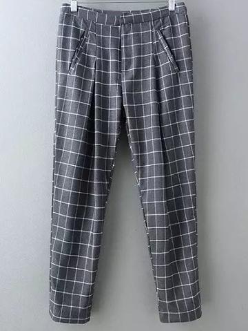 Romwe Grey Pockets Plaids Harem Pants
