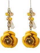 Romwe Yellow Rose Dangle Earrings