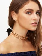 Romwe Gold Chunky Chain Bow Tie Back Choker Necklace