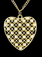 Romwe Gold With Pearl Heart Necklace