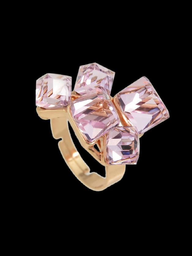 Romwe Pink Crystal  Geometric Finger Ring