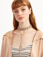 Romwe Pink Layered Circle Rhinestone Wrap Choker Necklace