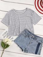 Romwe Contrast Striped Crop Tshirt
