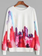 Romwe White Abstract Print Drop Shoulder Sweatshirt
