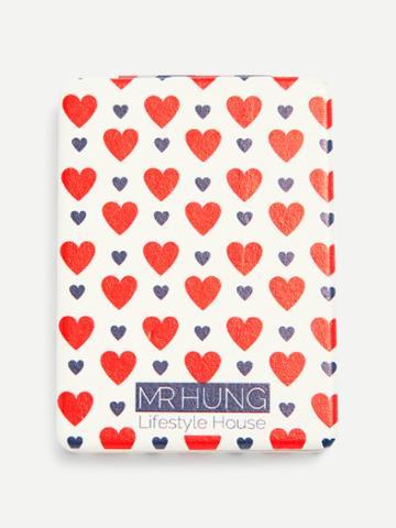 Romwe Heart Print Portable Folding Rectangular Mini Makeup Mirror