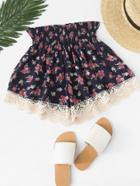Romwe Calico Print Lace Trim Pleated Shorts