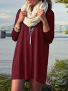 Romwe Red Long Sleeve Straight Loose Dress