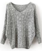 Romwe Grey V Neck Long Sleeve Hollow Sweater